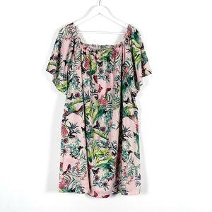 Pink Tropical Floral Print Loose Fit Dress